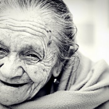 old, wrinkled, grey-haired woman